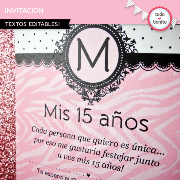 Invitacion Animal Print Cebra Rosa