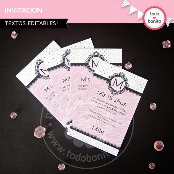 Invitacion Animal Print Cebra Rosa