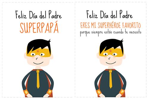 Tarjetas Super Papá para imprimir GRATIS!