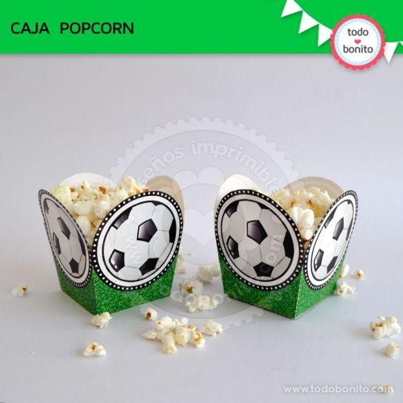 Caja Popcorn imprimible Kit futbol Todo Bonito