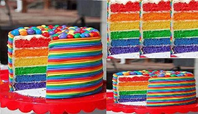 Torta arcoiris confites de colores