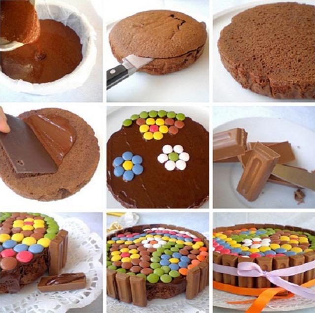 Preparaciones originales con confites de colores todo bonito for Tortas decoradas faciles
