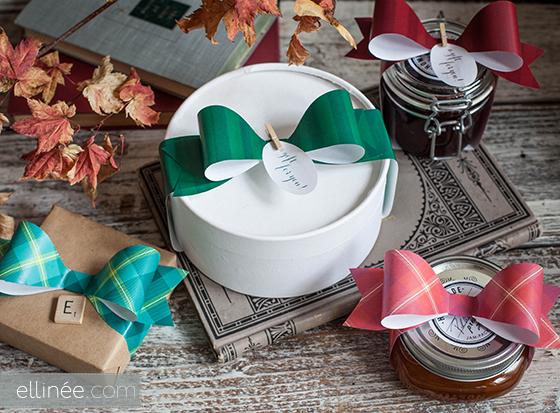 Moños de papel navideños