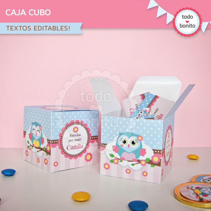 Caja cubo souvenir para imprimir buhos niñas