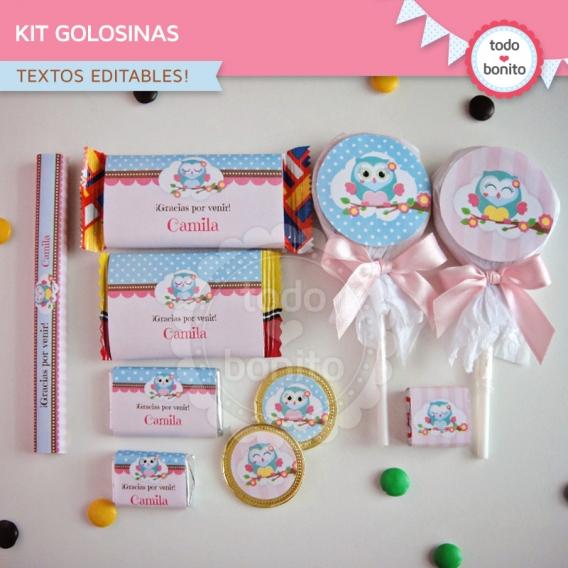 Kit de golosinas para imprimir de Buhos para niñas por Todo Bonito