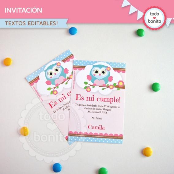 Invitaciones de Buhos en rosa por Todo Bonito