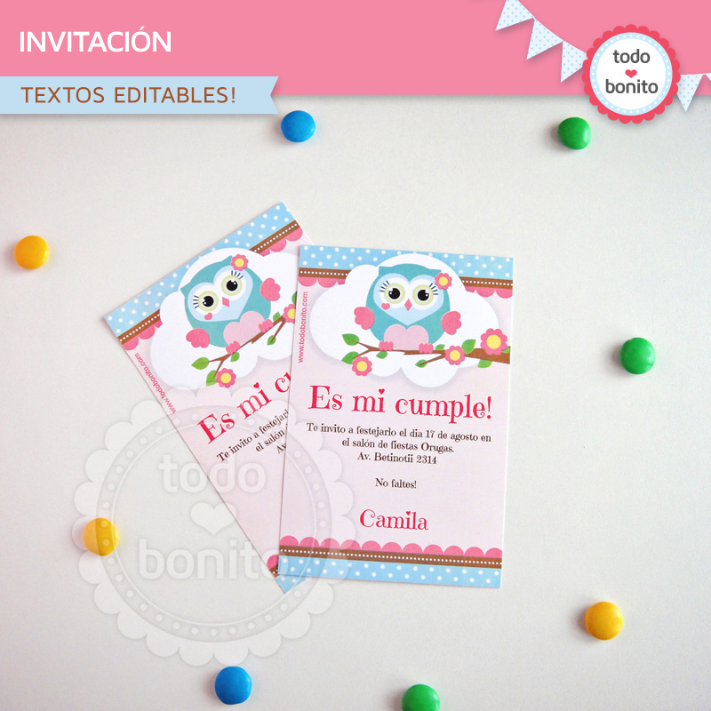 Invitaciones de buhos para niñas