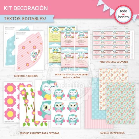 Kits imprimibles de Buhos en rosa por Todo Bonito
