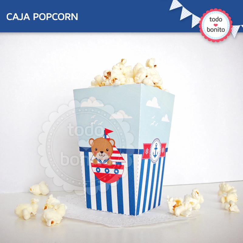 Caja popcorn barquito y oso marinero