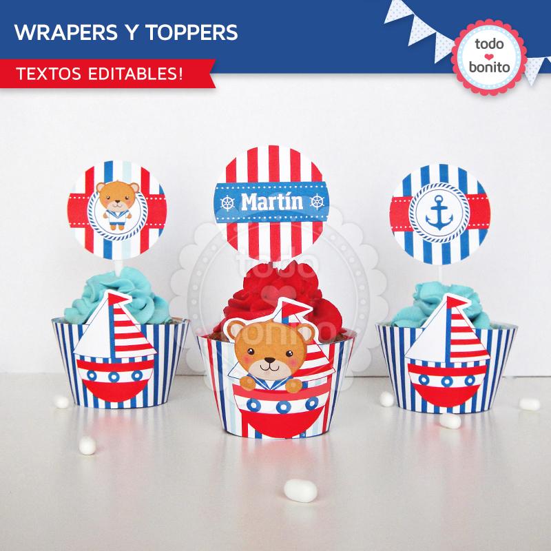 Wrappers y Toppers Imprimibles Kit Nautico Todo Bonito