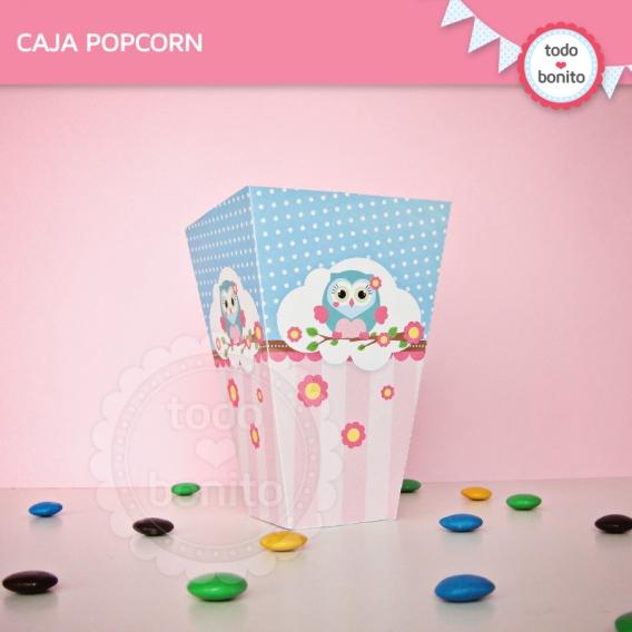 Cajita popcorn para imprimir de Buhos para niñas por Todo Bonito