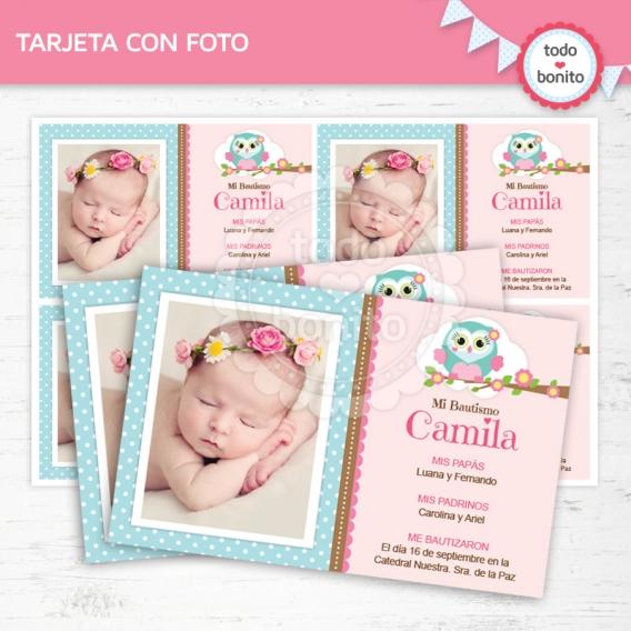 Tarjetas imprimibles de Buhos en rosa por Todo Bonito