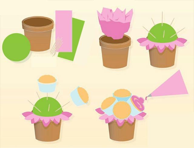Como hacer bouquet de cupcakes