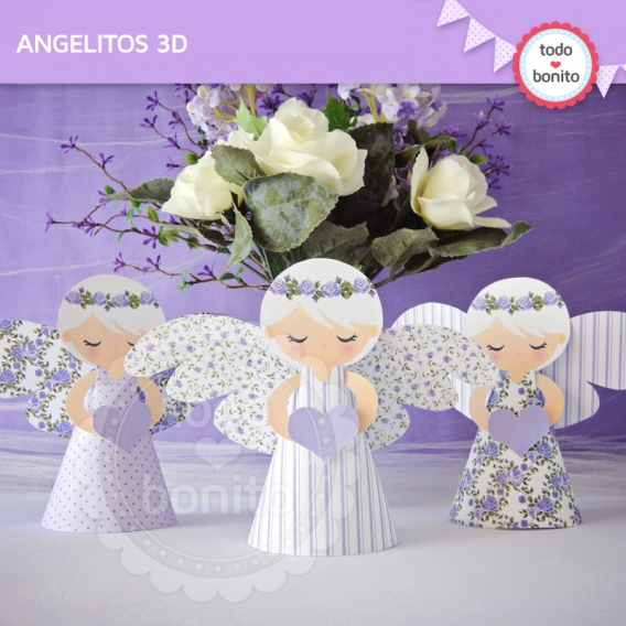 Angelitos 3D Imprimibles Shabby Chic Lila