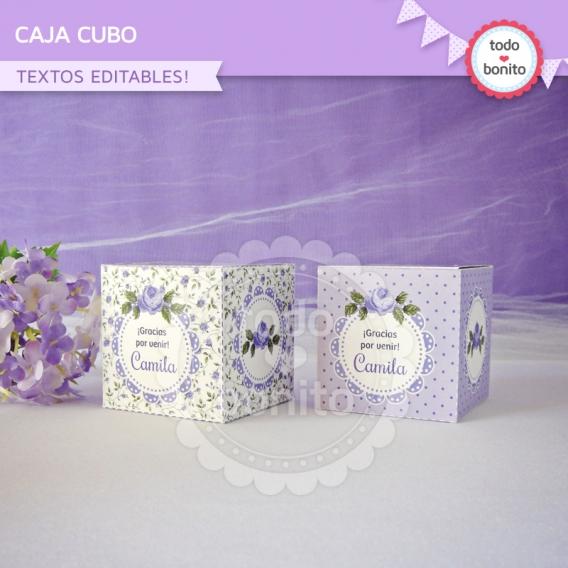 Caja cubo imprimible shabby chic lila