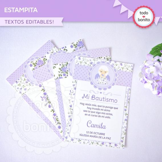 Estampita imprimible shabby chic lila