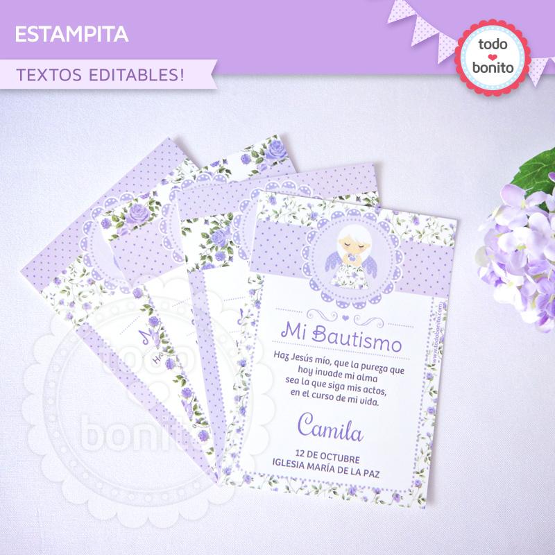 Estampita Imprimible shabby lila