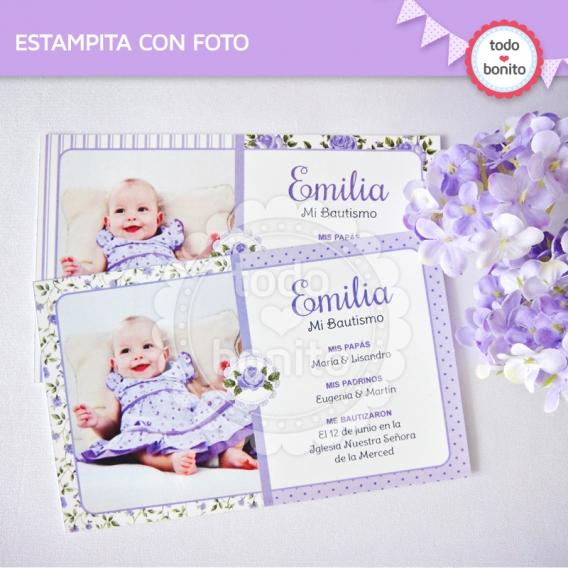 Estampita imprimible con foto estilo shabby chic lila