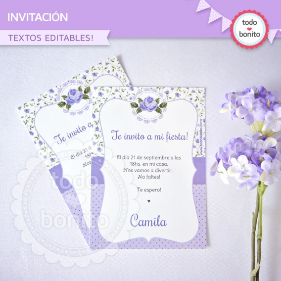 Invitación de shabby lila