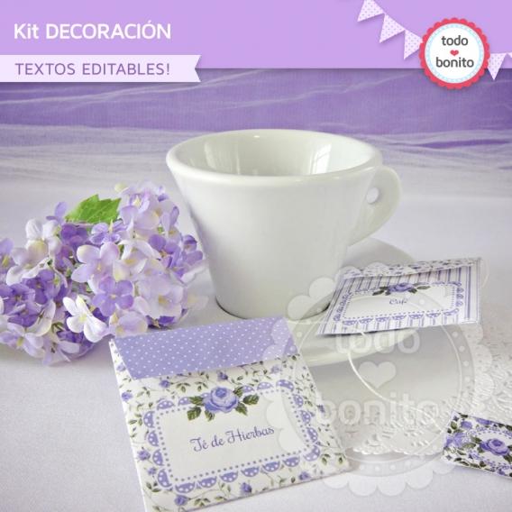 Kit decoracion de shabby lila
