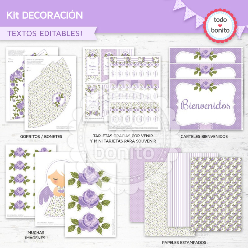 Kit imprimible shabby chic lila