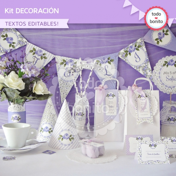 Kit de decoración imprimible shabby chic lila