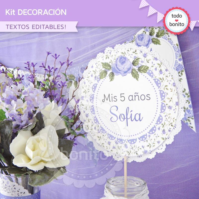 Decoración imprimible shabby chic lila