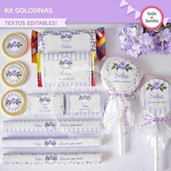 Kit de golosinas imprimibles shabby chic lila