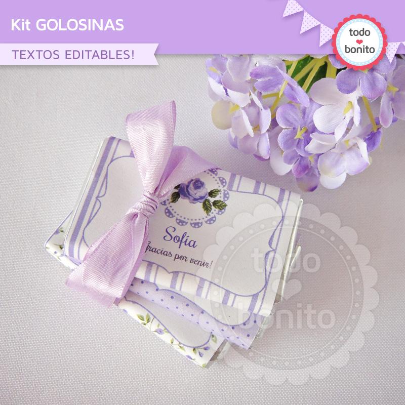 Etiquetas de golosinas para imprimir shabby chic lila