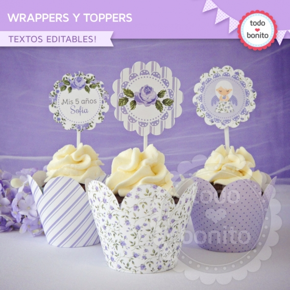 Wrappers y Toppers imprimibles shabby chic lila