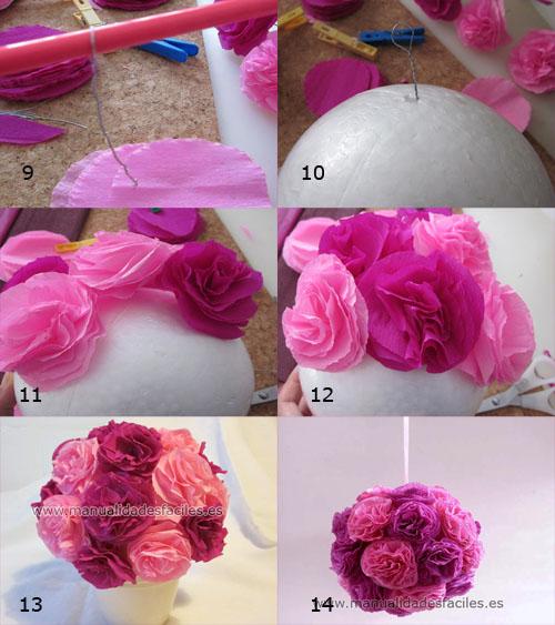Topiarios con flores - Como hacer pompones para decorar fiestas ...