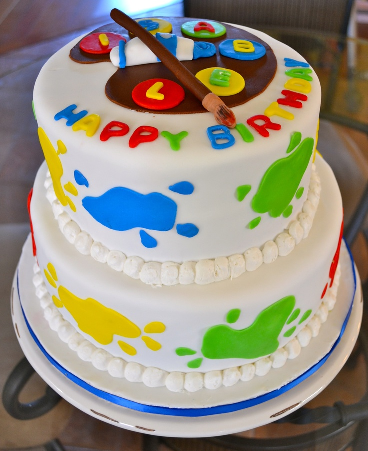 Birthday Cake Ideas For Art Party : Torta tematica Fiesta de pinturas