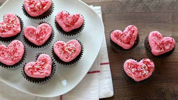 Cupcakes con forma de corazón