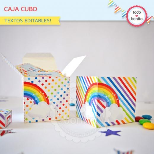 Caja Cubo Imprimible Arco Iris Todo Bonito