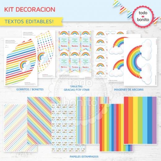 Kit Decoración Imprimible Arco Iris Todo Bonito