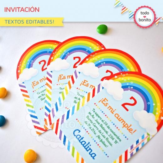 Invitación Imprimible Arco Iris Todo Bonito