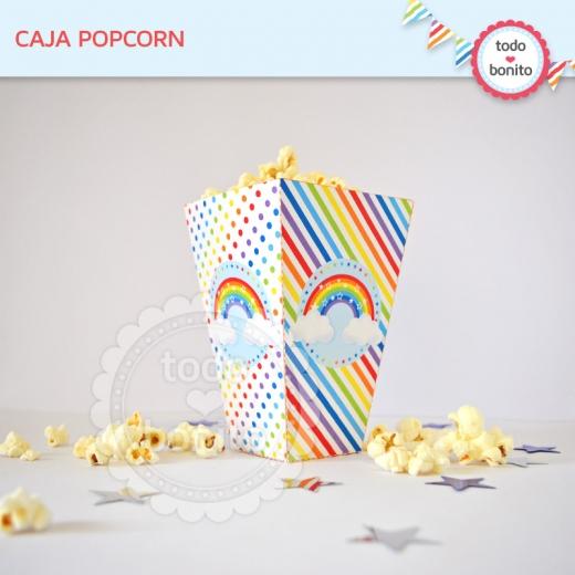 Caja Popcorn Imprimible Arco Iris Todo Bonito