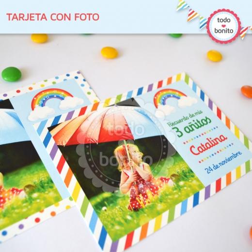 Tarjeta con Foto Imprimible Arco Iris Todo Bonito