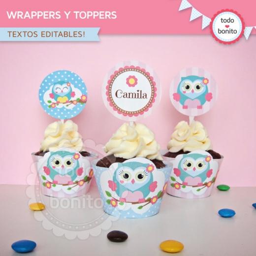 Wrappers y toppers de buhos para niñas