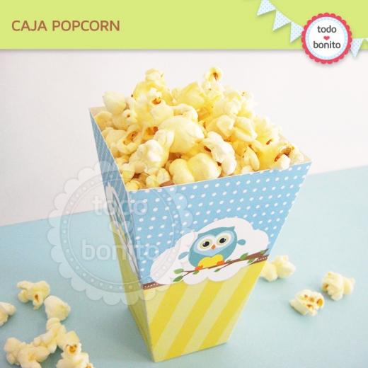 Cajita popcorn de buhos para niños