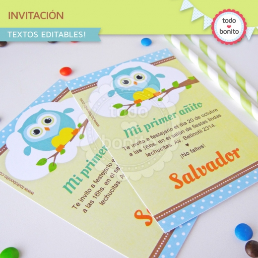 Invitación para imprimir de buhos para niños