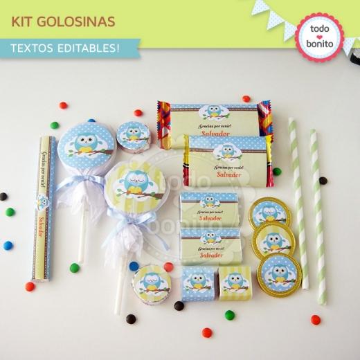 Kit golosinas de buhos para niños