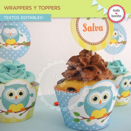 Wrappers y toppers de buhos para niños