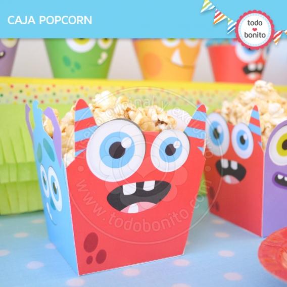 Caja popcorn para imprimir temática Monstruitos de Todo Bonito