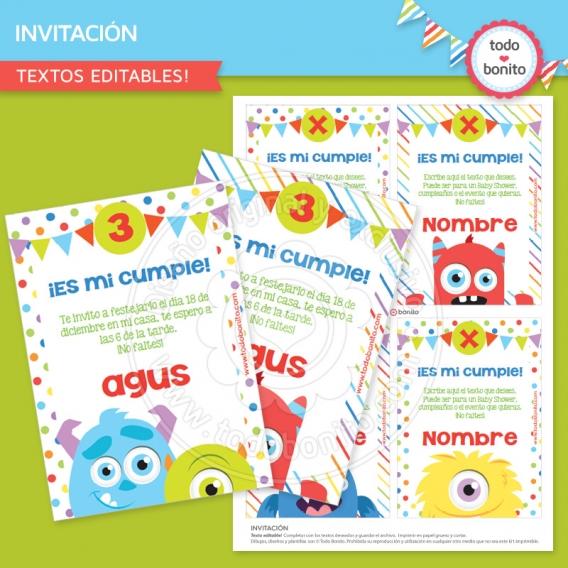 Invitación para imprimir Monstruitos de Todo Bonito