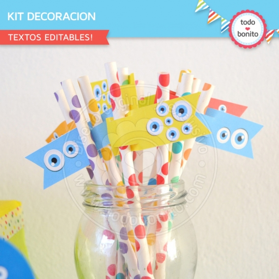 Kit decoración de Monstruitos para imprimir