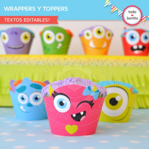Kit monstruitos de wrappers y toppers para cupcakes