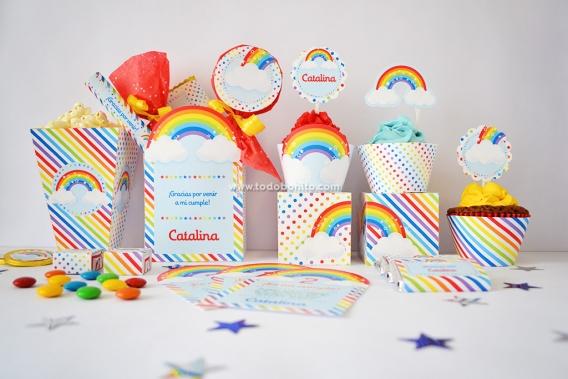 Kits imprimibles Arcoíris colorido