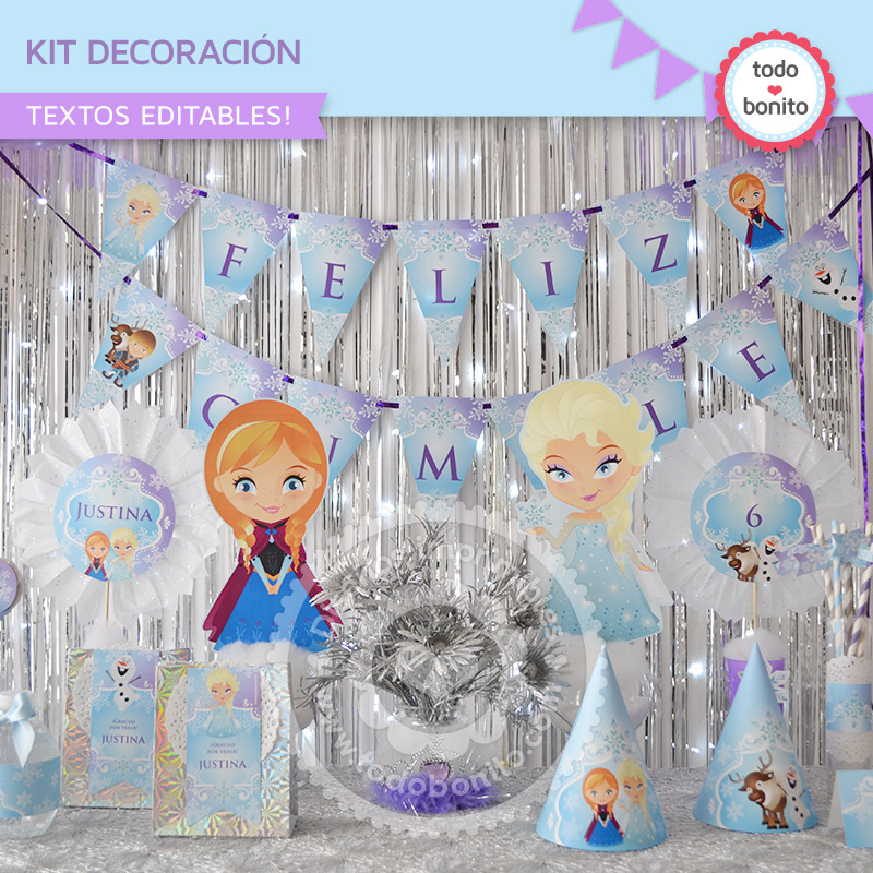 Kit decoración Imprimible Frozen Todo Bonito