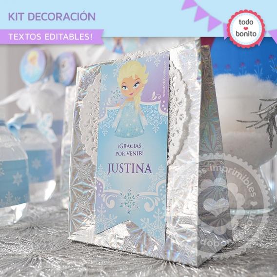 Kit Decoración de Frozen cierra bolsa